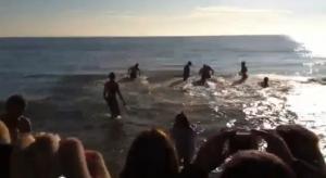 Capodanno 2012 bagno in mare a Bibione