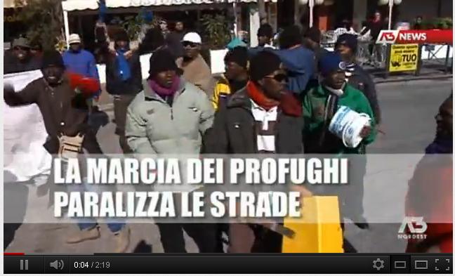 protesta dei profughi a Jesolo