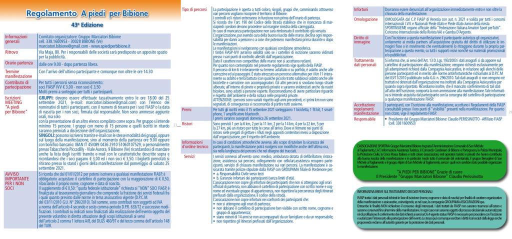 Regolamento a Piedi per Bibione 2021